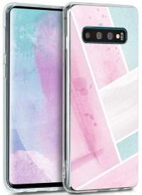 kwmobile Funda Compatible con Samsung Galaxy S10 - Carcasa de TPU y con Parches de Acuarela en Rosa Claro/Menta/Blanco