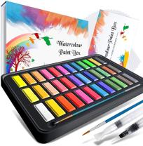 RATEL set de pintura de acuarelas 36 colores - Caja abierta con los 36 colores y mostrando los pinceles incluidos.