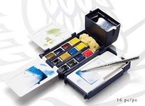 Caja de plástico de acuarelas winsor and newton professional con 12 pastillas, 1 pincel y otros accesorios