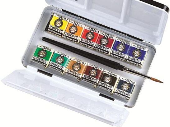 Acuarelas Profesionales - Rembrandt - Caja metálica con 12 pastillas