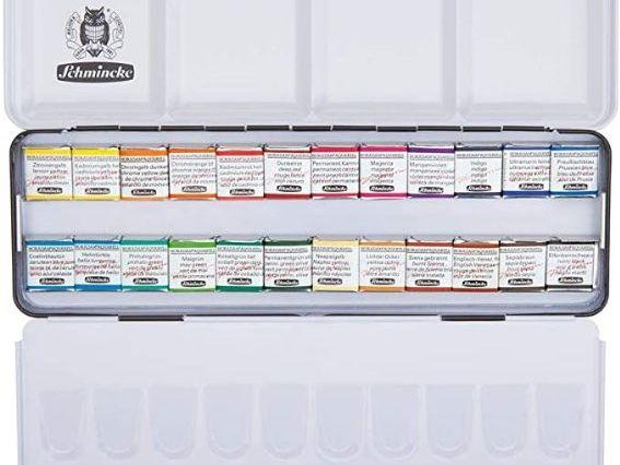 Acuarelas Profesionales - Schmincke Horadam - Caja metálica con 24 pastillas