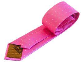 Corbata rosa chicle con topos