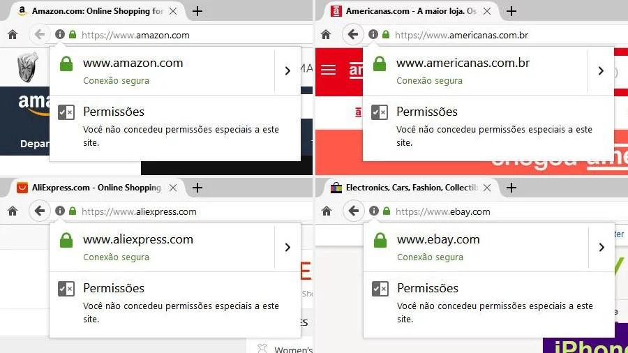 Compras online: site de compras com conexão segura HTTPS