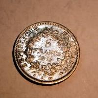 FRANCIA REPUBLICA 5 FRANCOS 1874 A M.B.C+