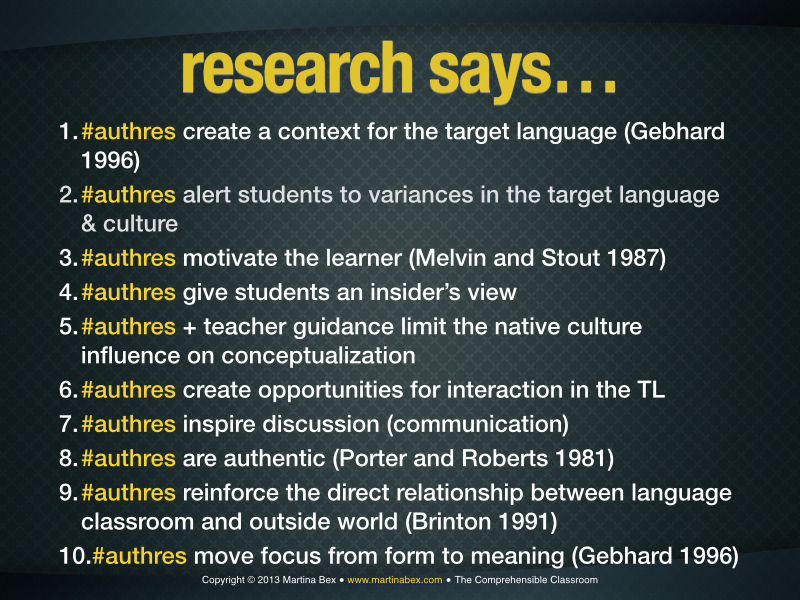 The reasons for examining authentic resources in language classes are numerous, and the research resonates with my experience. Here are some research-based reasons to work with #authres: