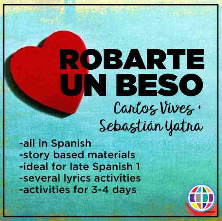 Robarte un beso by Carlos Vives and Sebastián Yatra / MovieTalk and lyrics activities for Spanish classes