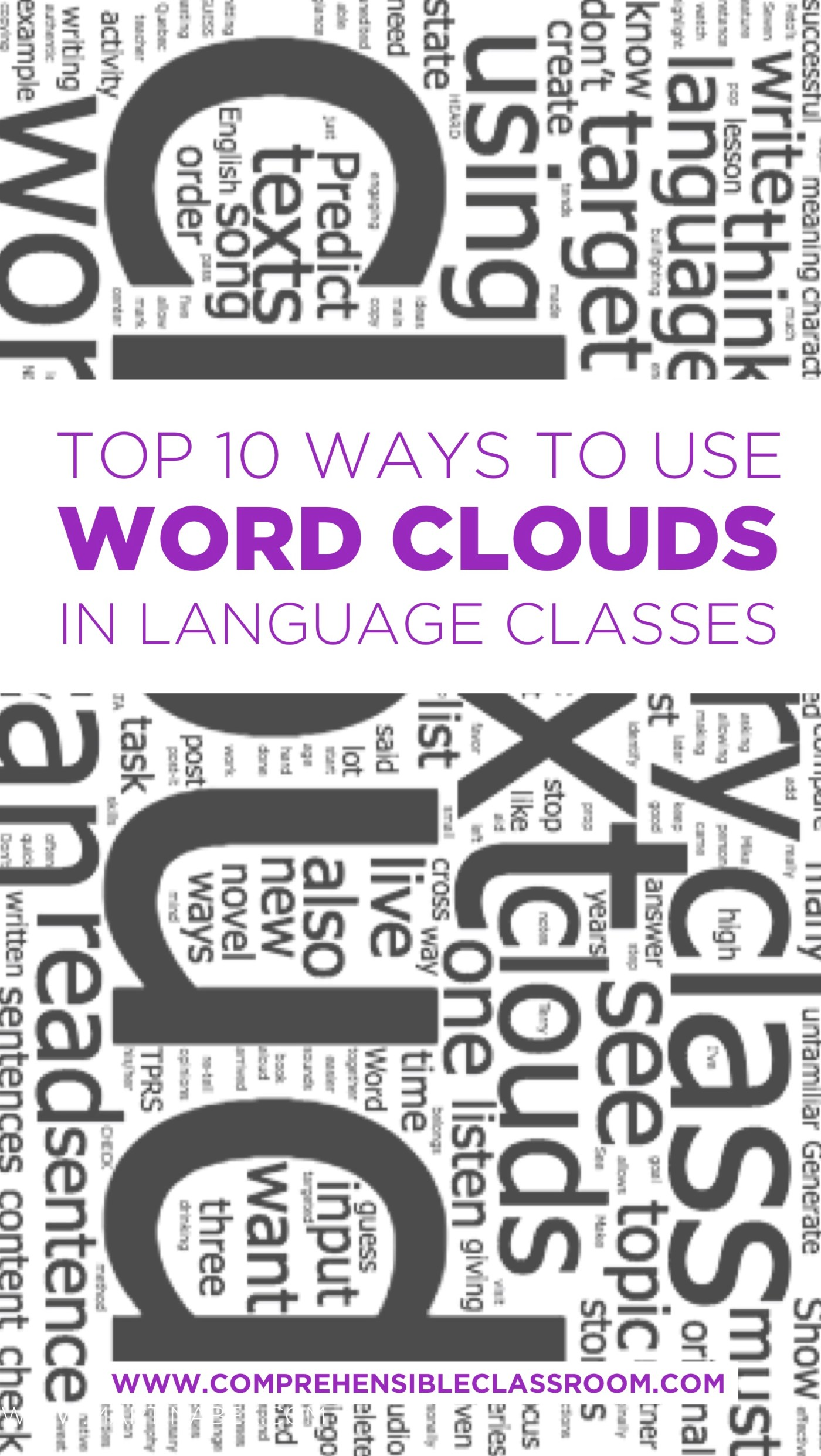 Ideas for using word clouds as a source for comprehensible input in Spanish classes and adaptable for any language!