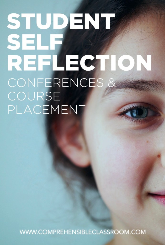 Give students an opportunity to reflect on their experience in your course with this simple student self-reflection. Originally created to guide conversation during student led conferences. Also includes a placement form!