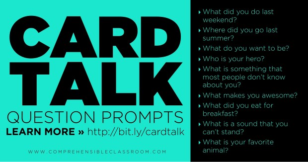 Card Talk is a powerful discussion strategy for providing comprehensible input to language learners, and one benefit is that can be adapted to ANY lesson!