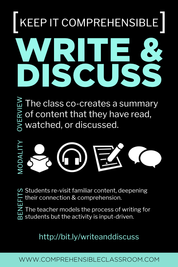 Write and Discuss is a power packed strategy for language classes. Visit bit.ly/writeanddiscuss to watch a demo and learn more!