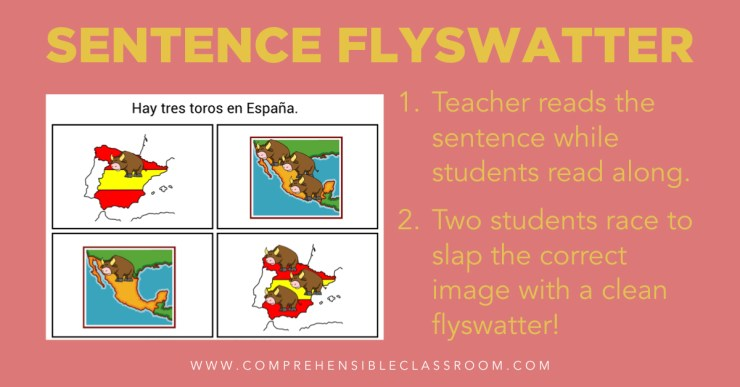 Sentence Flyswatter is a fun, fast-paced game that will get students in language classes up and moving while reading and listening to the target language!