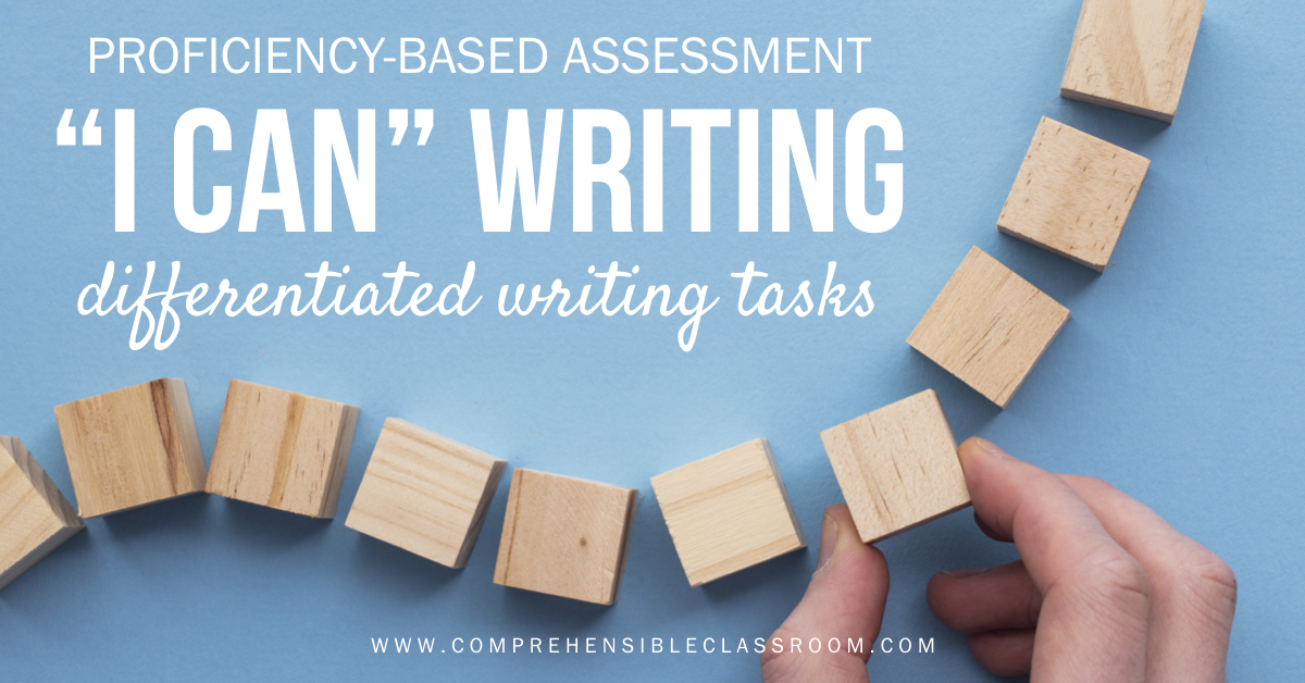 Differentiate writing assessment tasks in your world language classroom by allowing students to choose the performance level that they're aiming for // Image 298327317 by ink drop from Adobe Stock