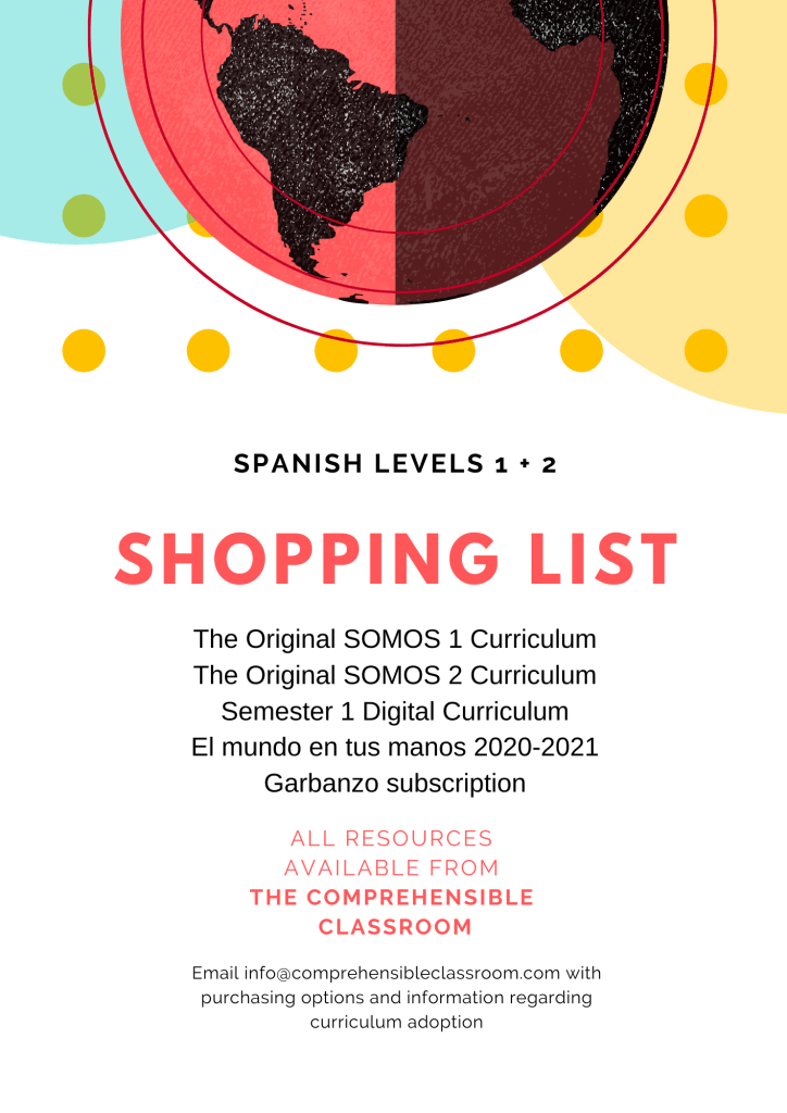 a shopping list for digital curriculum resources for Spanish 1 and 2