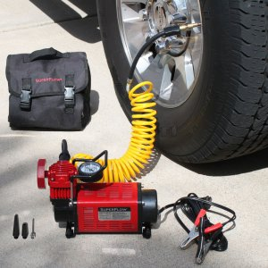 Inflate a car tire using MV50 SuperFlow Portable Compressor