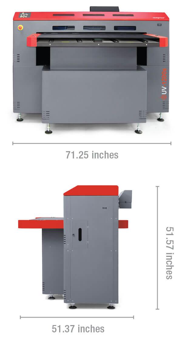 Compress iUV600s LED UV printer dimensions