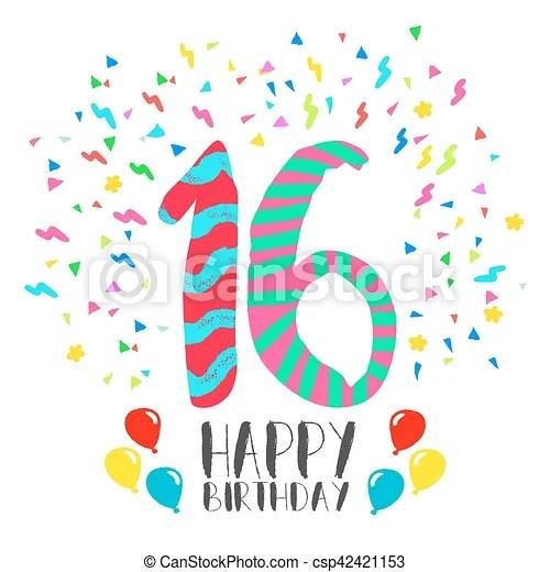 Pragen Alles Gute Zum 16 Geburtstag Texteffekt Handgeschrieben