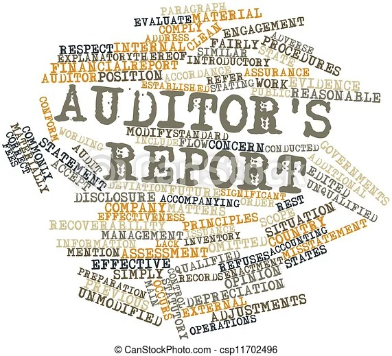 Abstract word cloud for auditor's report with related tags and terms.