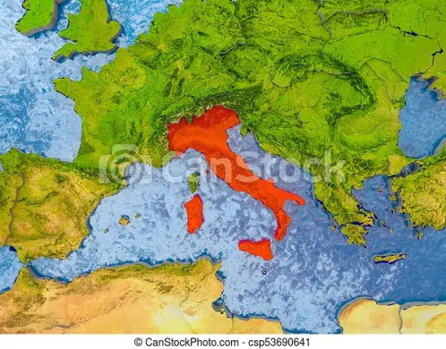 Map of italy  Italy in red on realistic map with embossed countries     Map of Italy   csp53690641