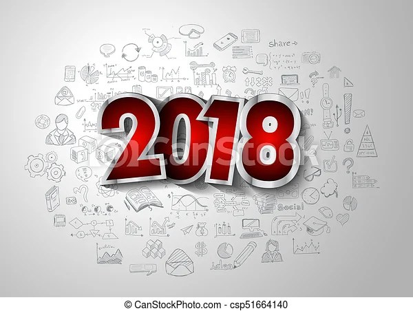 2018 new year infographic and business plan background with hand     2018 new year infographic and business plan background with hand drawn  sketch graphics