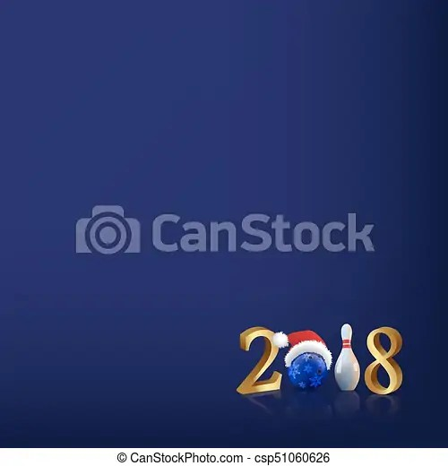 2018 vector new year template  bowling 2018 new year sign with     2018 Vector New Year Template  Bowling 2018 New Year Sign With Bowling Ball  And Skittle On Blue