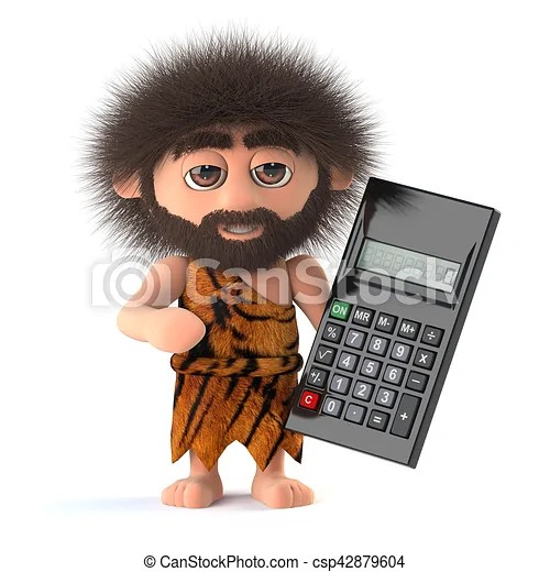 3d Funny Caveman With A Calculator 3d Render Of A Funny