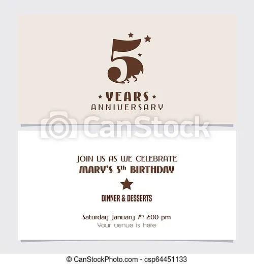 https www canstockphoto com 5 years anniversary invitation vector 64451133 html