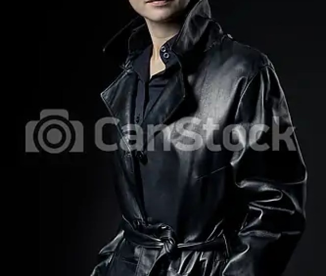 Attractive Female Agent In Black Leather Coat Csp