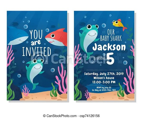 https www canstockphoto com baby shark party invitation card 74126156 html