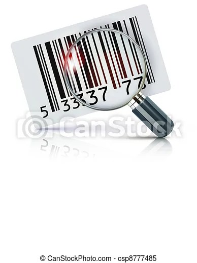 Vector illustration of cool identification barcode sticker with magnifying glass.