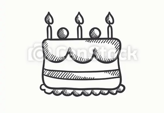 Birthday Cake With Candles Sketch Icon Birthday Cake With Candles