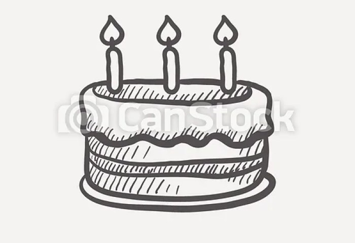 Birthday Cake With Candles Sketch Icon For Web And Mobile Hand