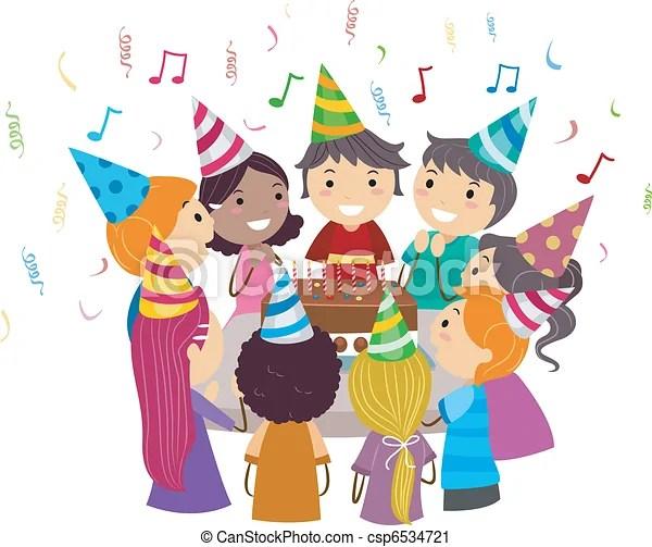 Birthday Party Illustration Of Kids Gathered Around A