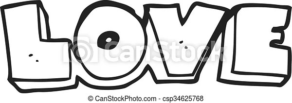 Download Freehand drawn black and white cartoon word love.