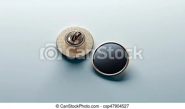 Blank Black Round Gold Lapel Badge Mock Up Front And Back