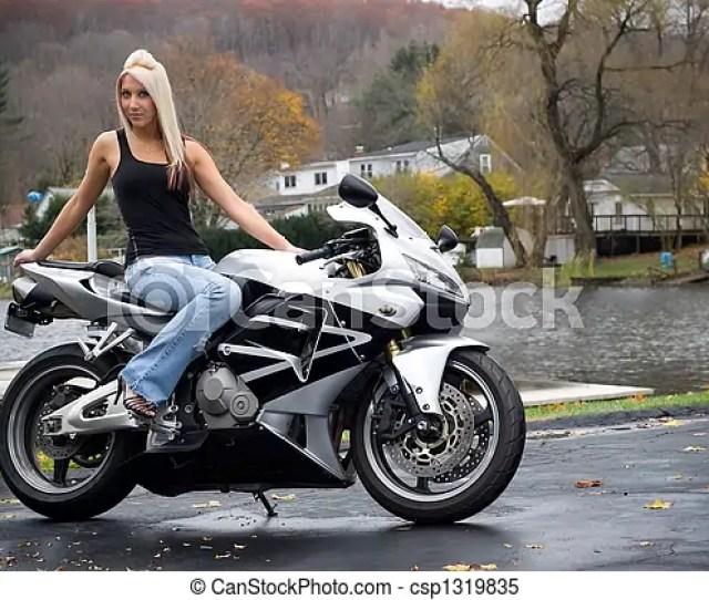Blonde Biker Girl Csp1319835
