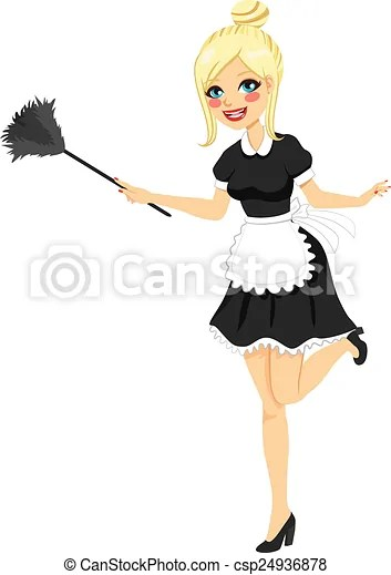 Blonde Vintage Maid Cleaning Blonde Girl With Vintage