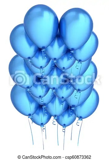 Blue Balloons Flying Up Happy Birthday Party Decoration Cyan Group Of Helium Balloon Holiday Anniversary Celebration Canstock
