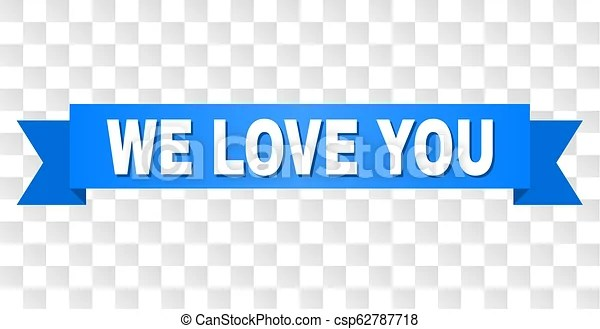 Download Blue ribbon with we love you text. We love you text on a ...