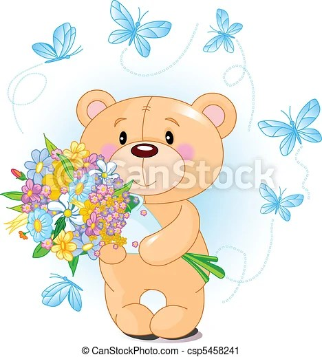 Blue Teddy Bear With Flowers Cute Little Teddy Bear
