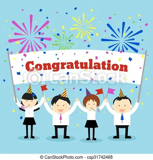 Businessmen holding congratulation sign. vector concept background. Businessmen holding congratulation sign. business and