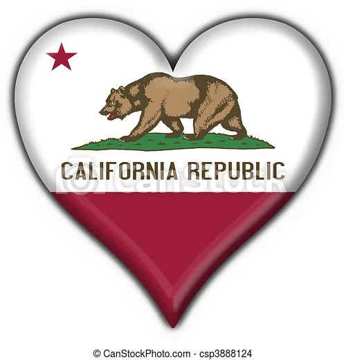 Download California (usa state) button flag heart shape - 3d made.