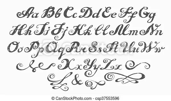 Calligraphy Alphabet Typeset Lettering Hand Drawn