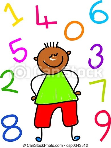 Clip Art Of Number Kid Little Ethnic Boy Surrounded By