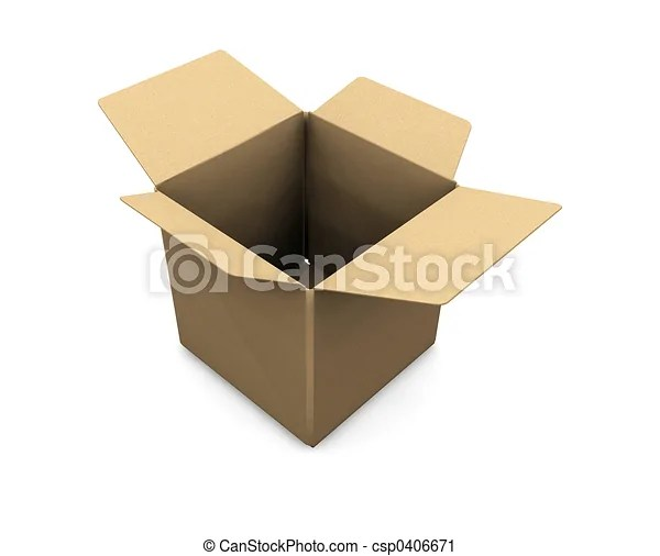 Clipart Of Open Box 3D Render Of An Open Cardboard Box