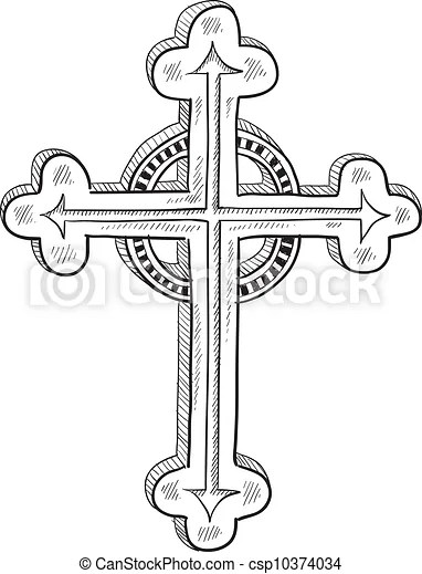 Vectors Of Orthodox Or Catholic Cross Sketch Doodle