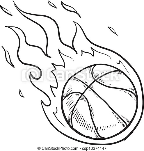 vector of flaming basketball sketch doodle style flaming basketball