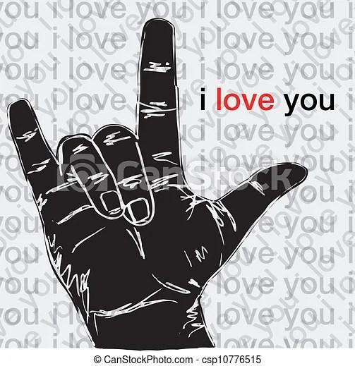 Download Vector Clip Art of I love you hand symbolic gestures ...