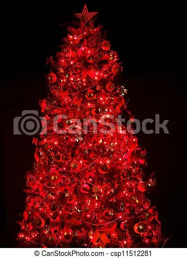 Pictures Of Christmas Tree With Light And Red Ball Black