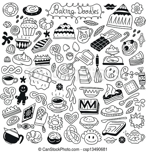 Vector Of Sweet Baking Doodles Baking Set Icons In