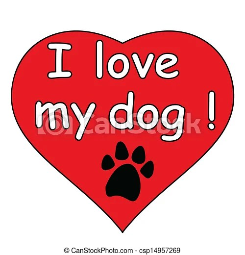 Download Clip Art Vector of I love my dog in the heart csp14957269 ...
